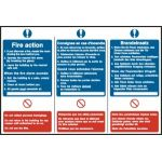 Fire action notice (English / French / German) - PVC (300 x 200mm)