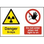 Danger X-rays Do not enter when red light is on - PVC (300 x 200mm)