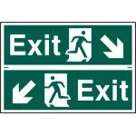 Exit man running arrow diagonally down left/right - PVC (300 x 200mm)