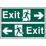 Exit man running arrow left/right - PVC (300 x 200mm)