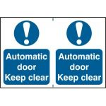 Automatic door Keep clear - PVC (300 x 200mm)