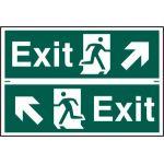 Exit man running arrow diagonally up left/right - PVC (300 x 200mm)