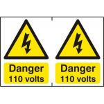 Danger 110 volts - PVC (300 x 200mm)
