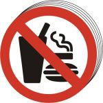 No eating No dinking No smoking symbol - SAV (50mm dia.) (Pack of 10)