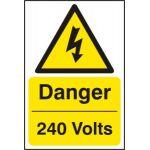 Danger 240 volts - RPVC (200 x 300mm)