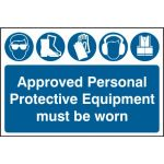 Approved Personal Protective Equipment must be worn - PVC (600 x 400mm)