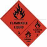 Flammable liquid Class 3 labels - SAV (200 x 300mm) (Pack of 3)