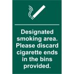 Designated smoking area. Please discard cigarette ends - PVC (200 x 300mm)