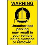 WARNING Unauthorised parking may result - RPVC (400 x 600mm)