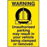WARNING Unauthorised parking may result - SAV (400 x 600mm)