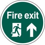 400mm dia. Fire Exit Man Arrow Up Floor Graphic
