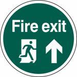 400mm dia. Fire Exit Man Arrow Up Floor Graphic