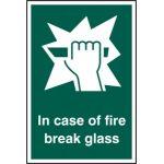 In case of fire break glass - RPVC (100 x 150mm)