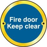 Fire door Keep clear door disc - PB (75mm dia.)